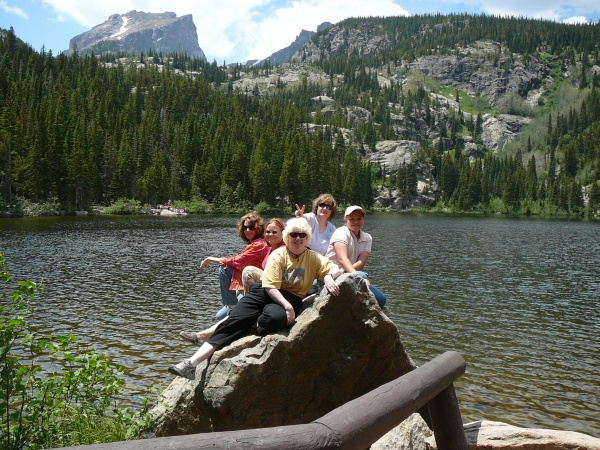 Friends at Bear Lake in Rocky Mountain National Park, Colorado