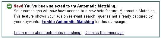 Google Automatic Match Beta