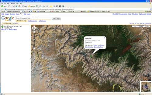 The Google Maps 'satellite' View of the Grand Canyon
