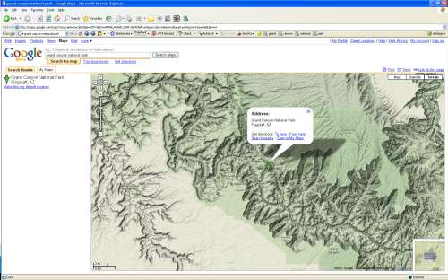 The Google Maps 'terrain' View of the Grand Canyon