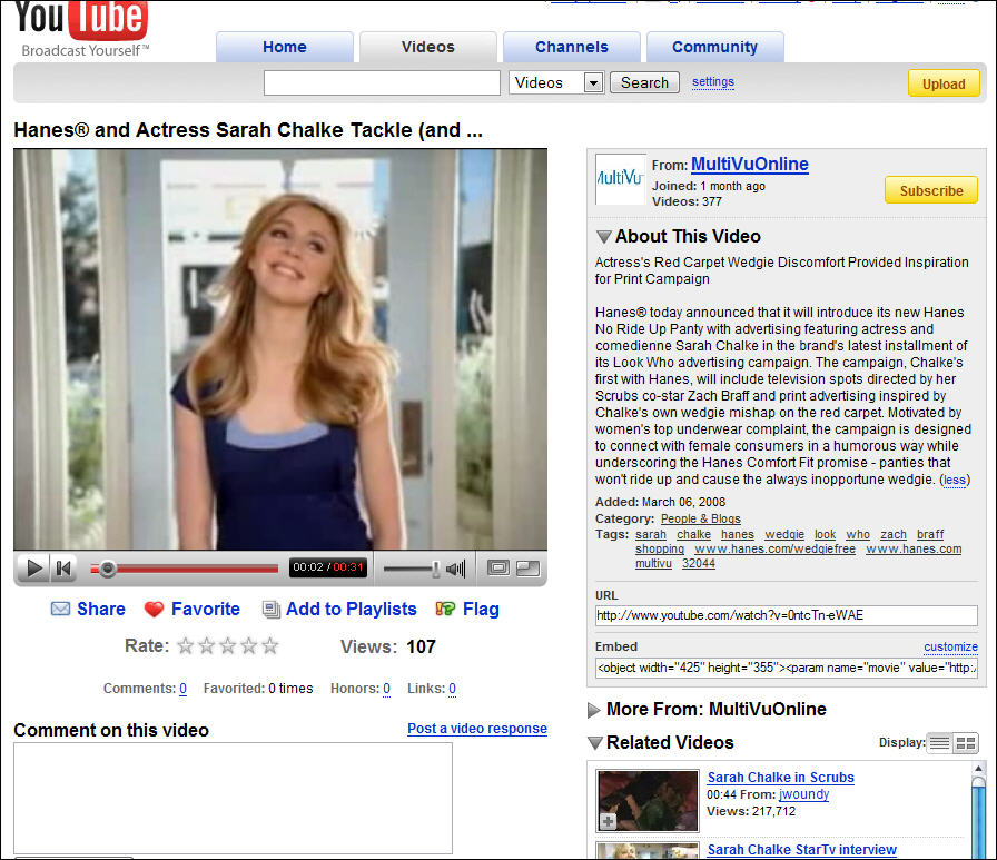 Hane's Wedgie Free Sarah Chalke Commercial / Video Uploaded in Another Users Account
