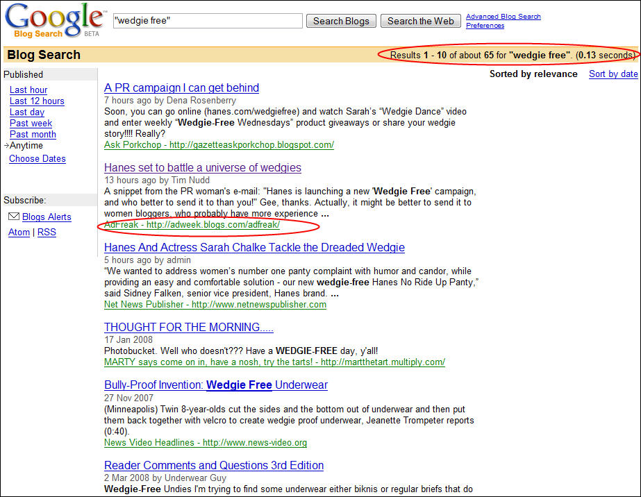 Search for Wedgie Free in Google's Blog Search