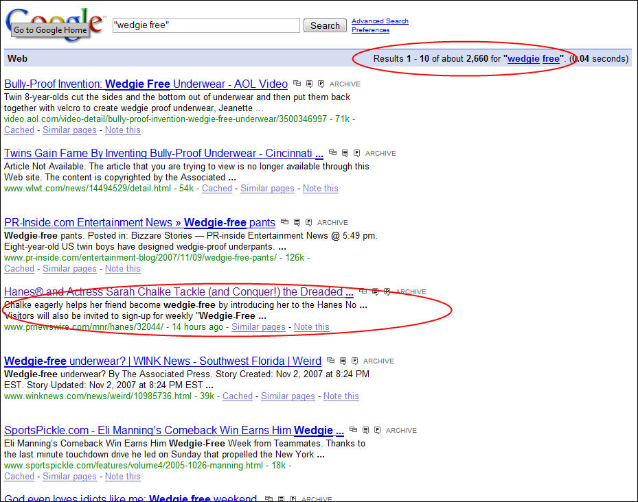 Wedgie Free Search Results in Google
