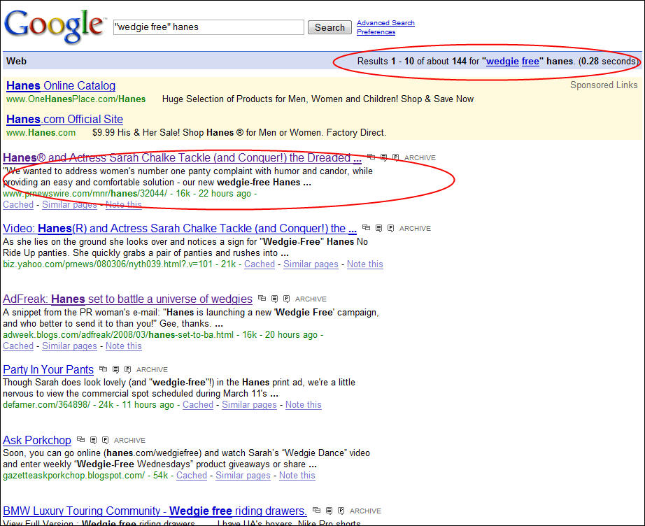Search for Wedgie Free Hanes in Google