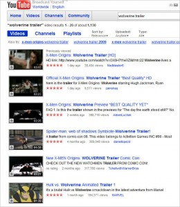 Wolverine Trailer Search on YouTube